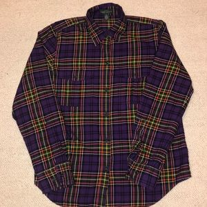 LRL Ralph Lauren purple plaid flannel shirt